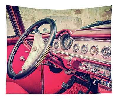 Driving In Havana Tapestry