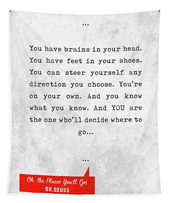 Dr.seuss Quotes - Oh, The Places You'll Go - Literary Quotes - Book Lover Gifts - Typewriter Quotes Tapestry