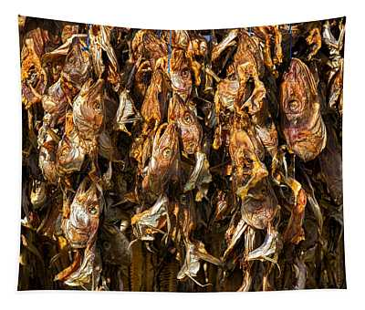 Drying Fish Heads - Iceland Tapestry