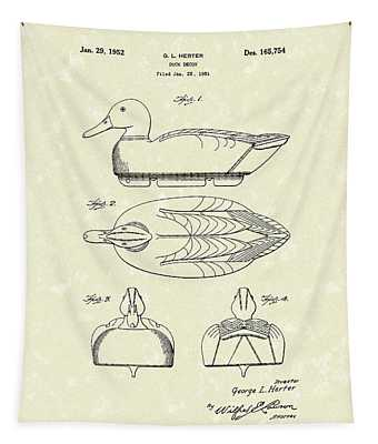 Duck Decoy 1952 Patent Art Tapestry