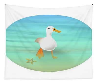 Duck Paddling At The Seaside Tapestry