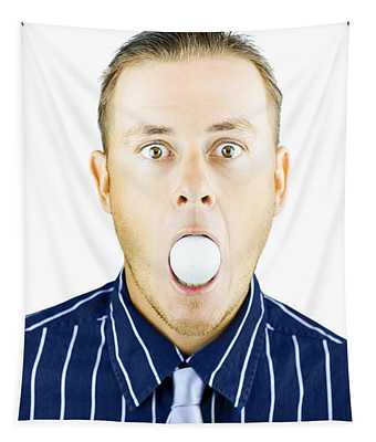 Dumbfounded Man Silenced By A Golf Ball Tapestry