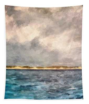 Dunes Of Lake Michigan With Rough Seas Tapestry
