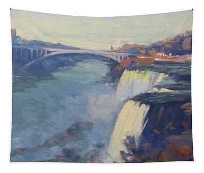 Dusk At Niagara Falls Tapestry