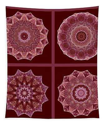 Dusty Rose Mandala Fractal Set Tapestry