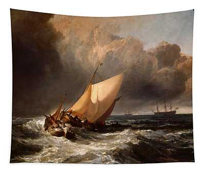 Dutch Boats In A Gale Tapestry
