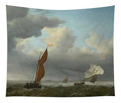 Dutch Ship And Other Small Vessels In A Strong Breeze Tapestry