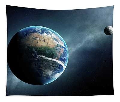 Earth And Moon Space View Tapestry