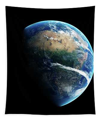 Earth Day And Night Space View Tapestry