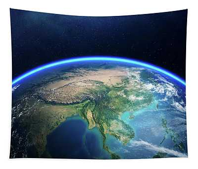 Earth From Space Asia View Tapestry