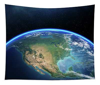 Earth From Space North America Tapestry