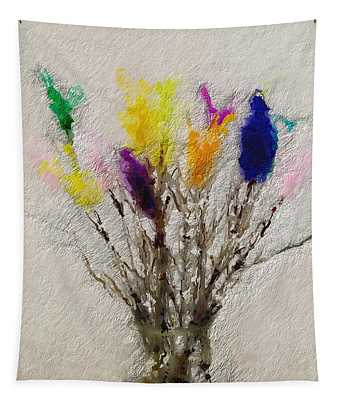 Easter Tree- Abstract Art By Linda Woods Tapestry