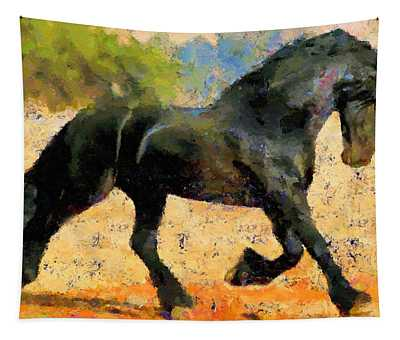 Ebony The Horse - Abstract Expressionism Tapestry