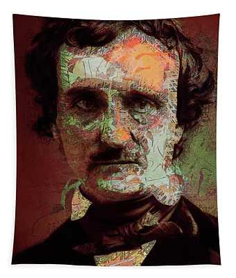 Tapestry featuring the digital art Edgar Allan Poe Artsy 2 by Joy McKenzie