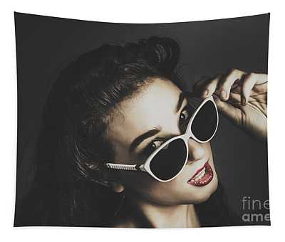 Edgy Fashion Pin Up Model Tapestry