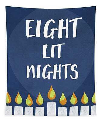 Eight Lit Nights- Hanukkah Art By Linda Woods Tapestry