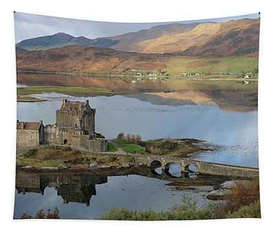Eilean Donan Castle In Autumn - Panorama Tapestry