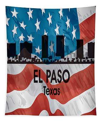 El Paso Tx American Flag Vertical Tapestry