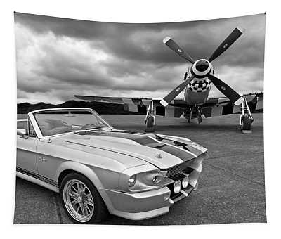 Eleanor Mustang With P51 Black And White Tapestry