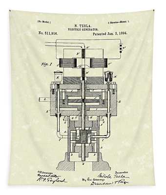 Electric Generator 1894 Patent Art Tapestry