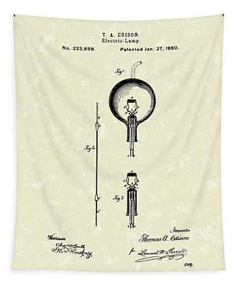 Electric Lamp 1880 Patent Art Tapestry