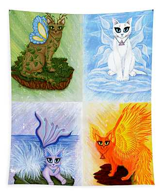 Elemental Cats Tapestry