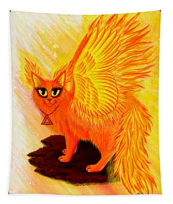 Elemental Fire Fairy Cat Tapestry