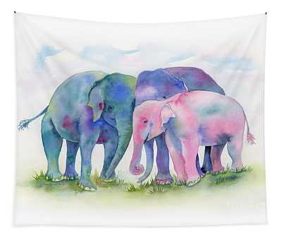Elephant Hug Tapestry