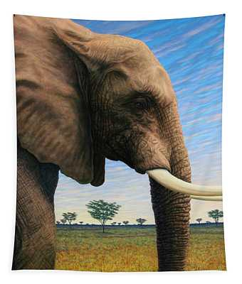 Tapestry featuring the painting Elephant On Safari by James W Johnson