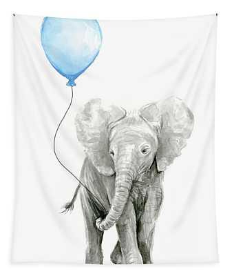Elephant Watercolor Blue Nursery Art Tapestry
