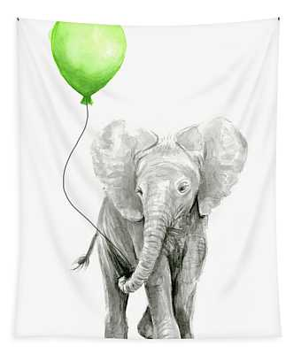 Elephant Watercolor Green Balloon Kids Room Art  Tapestry