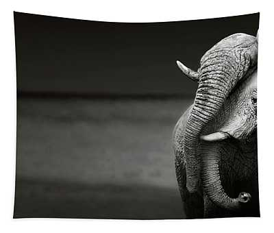 Elephants Interacting Tapestry