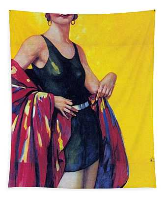 Elida Cremes In Sonne Und See - Woman In Swimsuit - Vintage Advertising Poster Tapestry