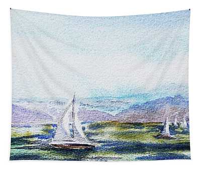 Elongated Seascape Painting Tapestry