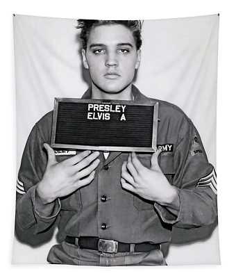 Elvis Army Mugshot 1960 Tapestry
