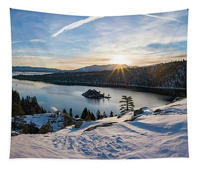 Emerald Bay Winter Sunburst By Brad Scott Tapestry