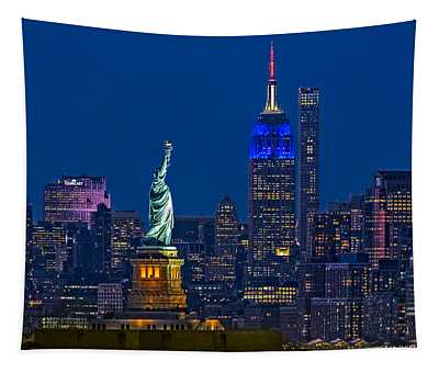 Empire State And Statue Of Liberty II Tapestry