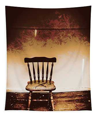 Empty Wooden Chair With Cross Sign Tapestry