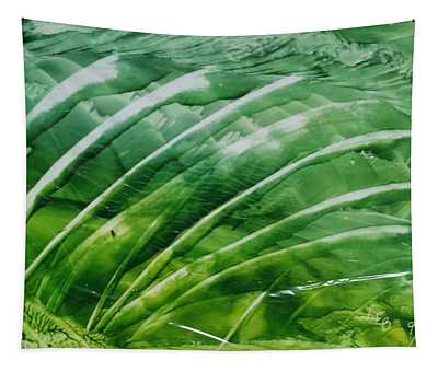 Encaustic Abstract Green Fan Foliage Tapestry