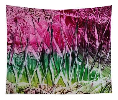 Encaustic Abstract Pinks Greens Tapestry