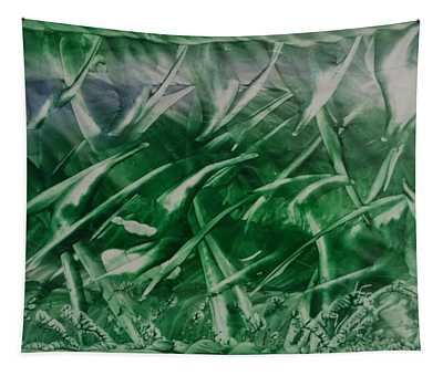 Encaustic Green Foliage With Some Blue Tapestry