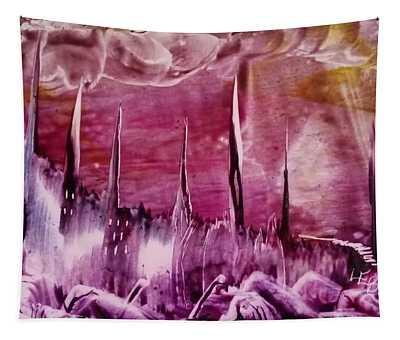 Encaustic Purple-pink Abstract Castles Tapestry