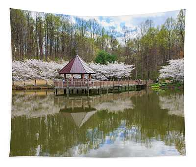 Enchanting Spring Cherry Trees Tapestry