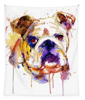 English Bulldog Head Tapestry