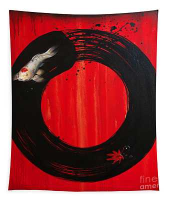 Enso With Koi Red And Gold Tapestry