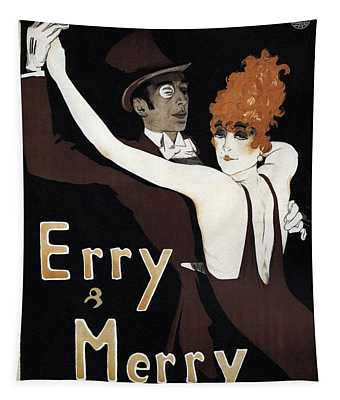 Erry And Merry - Couple Dancing - Dance Team - Vintage Advertising Poster Tapestry