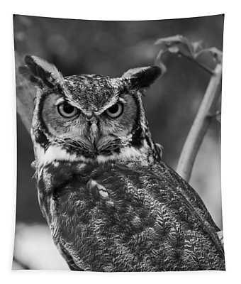 Eurasian Eagle Owl Monochrome Tapestry