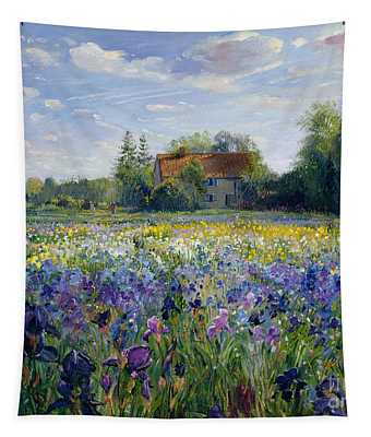Evening At The Iris Field Tapestry