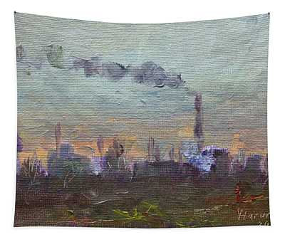Evening By Industrial Site Tapestry