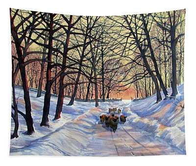 Evening Glow On A Winter Lane Tapestry
